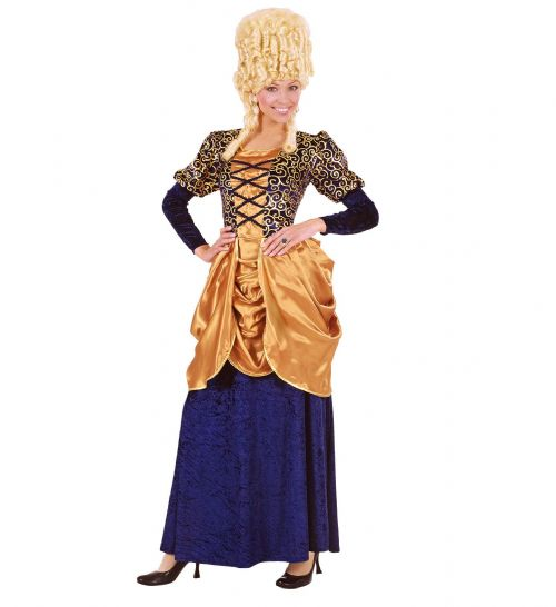 Ladies Blue Marquise Dress Costume Fancy Dress
